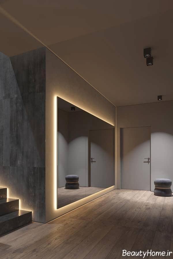 طراحی نور دکوراسیون فضای داخلی خانه با تم تیره