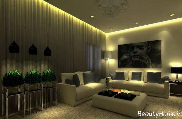 نورپردازی زیبا و شیک سالن پذیرایی