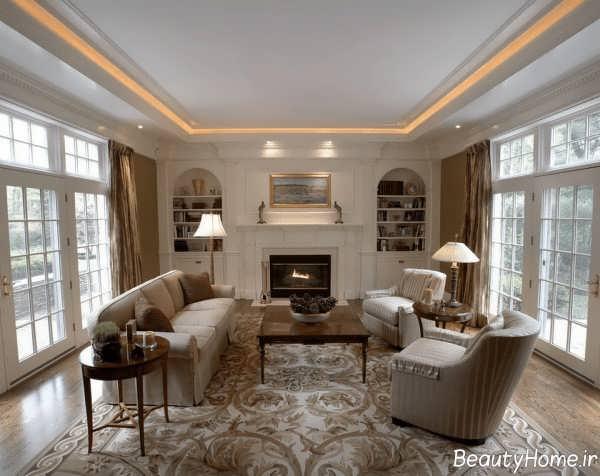 طراحی نورپردازی سقف کناف