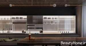 دکوراسیون آشپزخانه با طرح لاکچری مسی