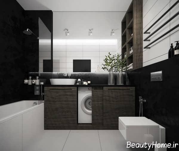 دکوراسیون حمام با تم سفید و مشکی