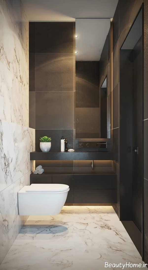 دکوراسیون متفاوت دستشویی با سنگ مرمر