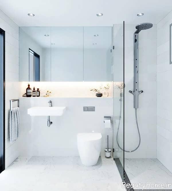 دکوراسیون شیک حمام با تم سفید