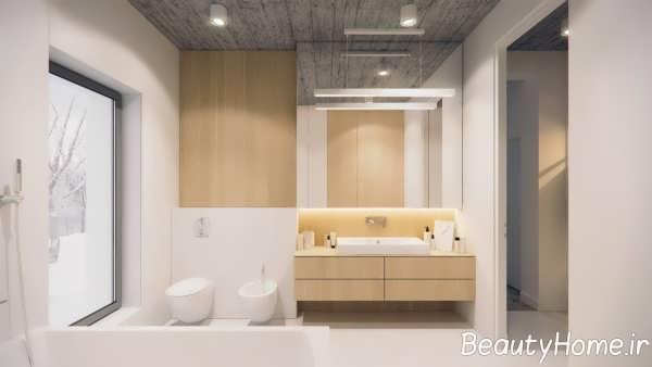 دکوراسیون حمام با طرح چوب