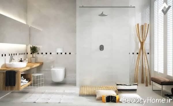طراحی شیک حمام با تم سفید