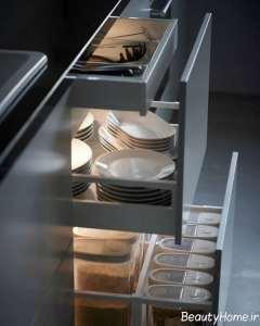 مدل کشوی کابینت برای نگهداری ظروف