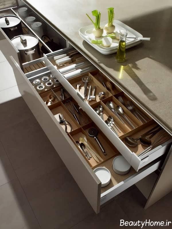 مدل کشو کابینت کاربردی برای نگهداری ظروف