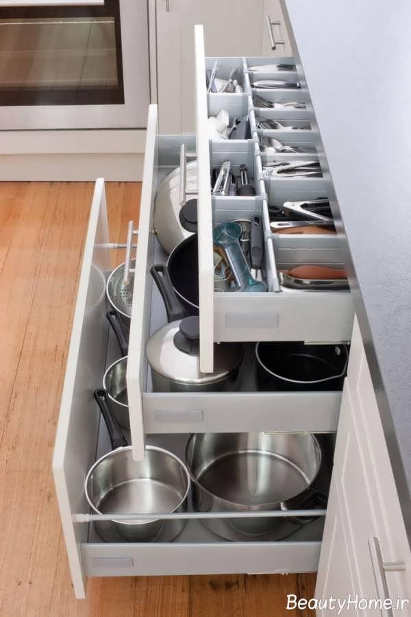 مدل کشو کابینت برای نگهداری ظروف آشپزخانه