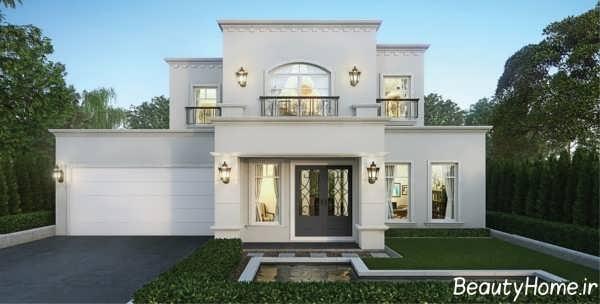 طراحی نمای زیبا و شیک ساختمان ویلایی