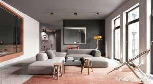 دیزاین خاکستری سالن پذیرایی