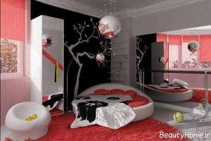 دکوراسیون اتاق خواب مشکی و قرمز
