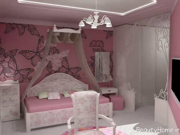 طراحی اتاق خواب دخترانه صورتی
