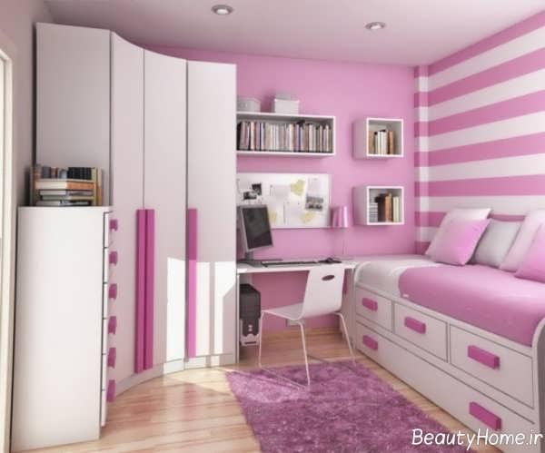 دکوراسیون سفید و صورتی اتاق خواب