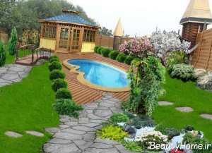 طراحی استخر فضای باز خانه های ویلایی