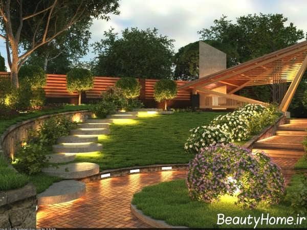 نور پردازی زیبا فضای بیرون خانه های ویلایی
