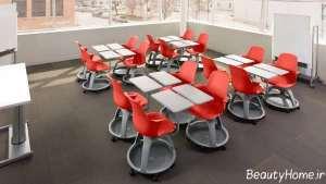دکوراسیون کلاس درس خاکستری و قرمز