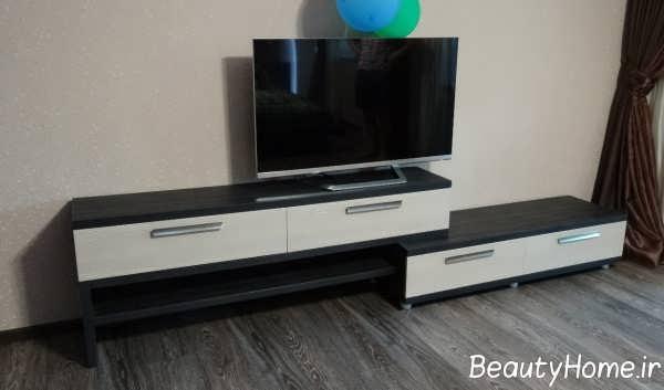 مدل میز تلویزیون با تم مشکی و سفید