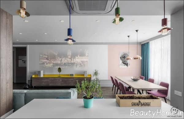 چیدمان شیک فضای داخلی آپارتمان