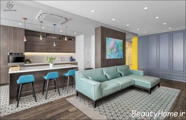 طراحی مدرن فضای داخلی آپارتمان با انرژی
