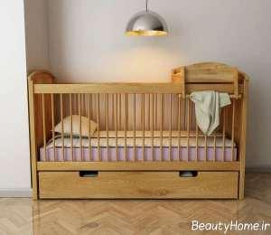 تخت خواب چوبی نوزاد