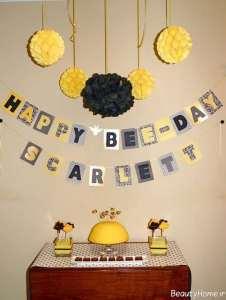 تزیین جشن تولد دخترانه با تم زنبوری