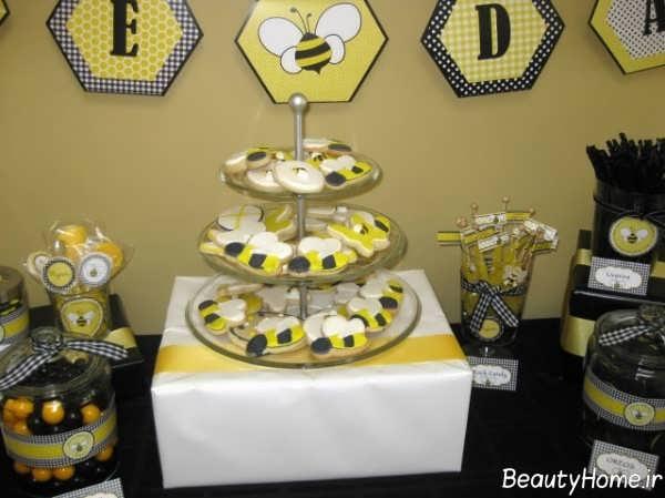 تزیین خوراکی با تم زنبوری