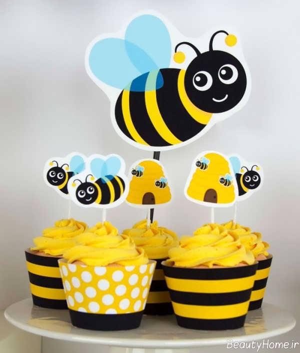 تزیین کاپ کیک با تم زنبوری
