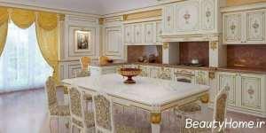 دکوراسیون سفید و طلایی آشپزخانه
