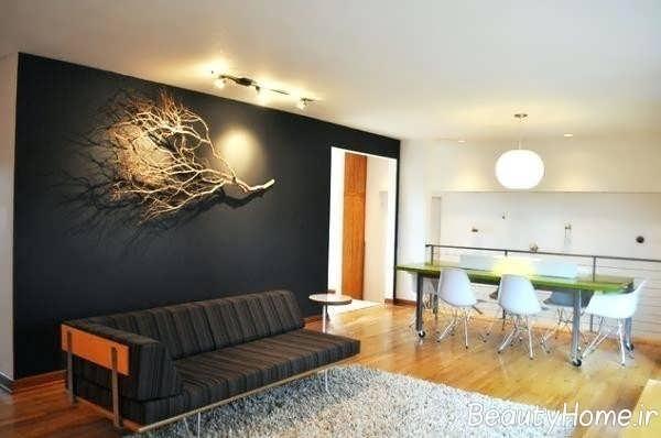 دیزاین عالی اتاق نشیمن با شاخه درخت