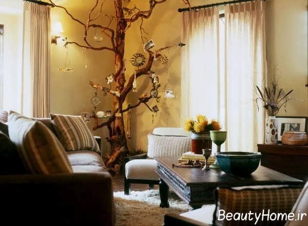 دکوراسیون شیک اتاق پذیرایی با شاخه درخت