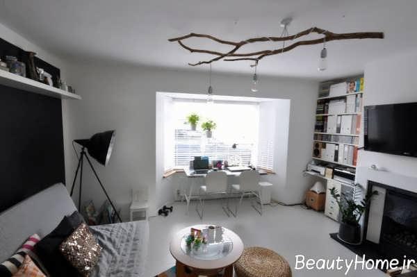 طراحی متفاوت اتاق پذیرایی با شاخه درخت