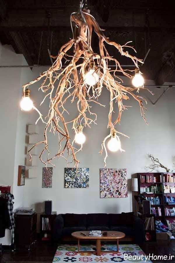 طراحی لوستر با شاخه درخت