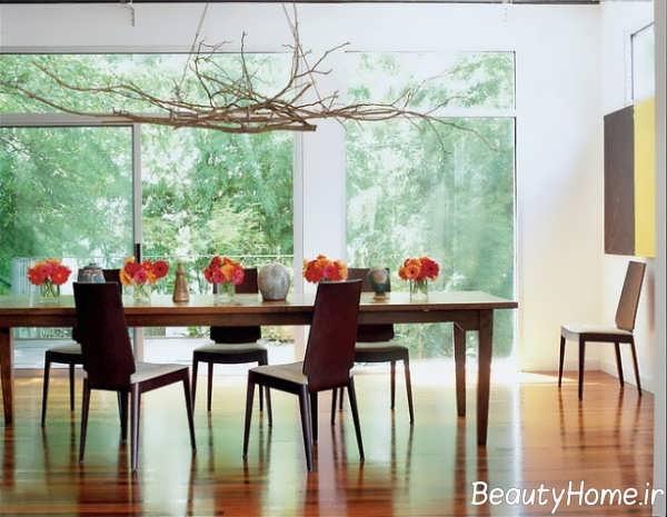 تزیین جالب اتاق نشیمن با شاخه درخت