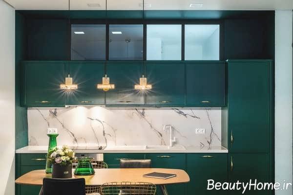 چیدمان فضای داخلی آشپزخانه با تم سبز