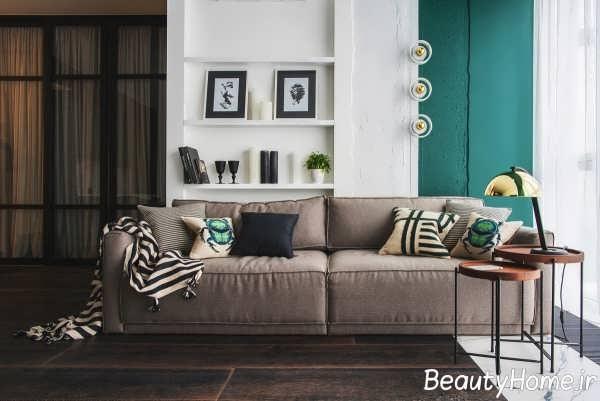 طراحی عالی اتاق نشیمن با رنگ سبز