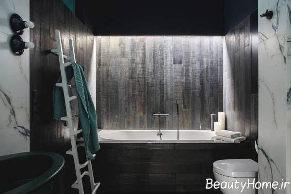 دکوراسیون حمام با تم طلایی و سبز