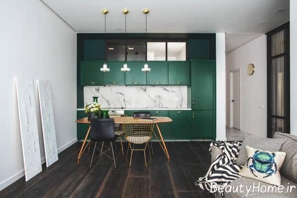 دکوراسیون فضای داخلی آشپزخانه با رنگ سبز