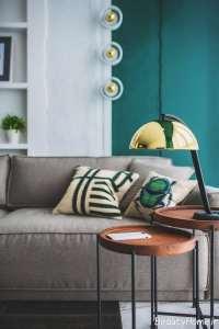 دکوراسیون اتاق نشیمن یا رنگ سبز