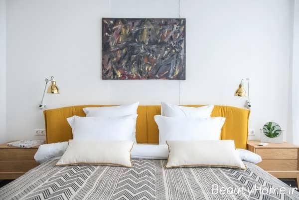 چیدمان ایده آل اتاق خواب با رنگ طلایی