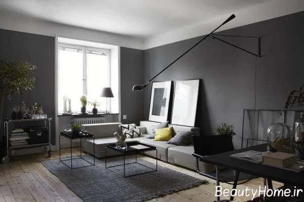 اتاق پذیرایی خاکستری