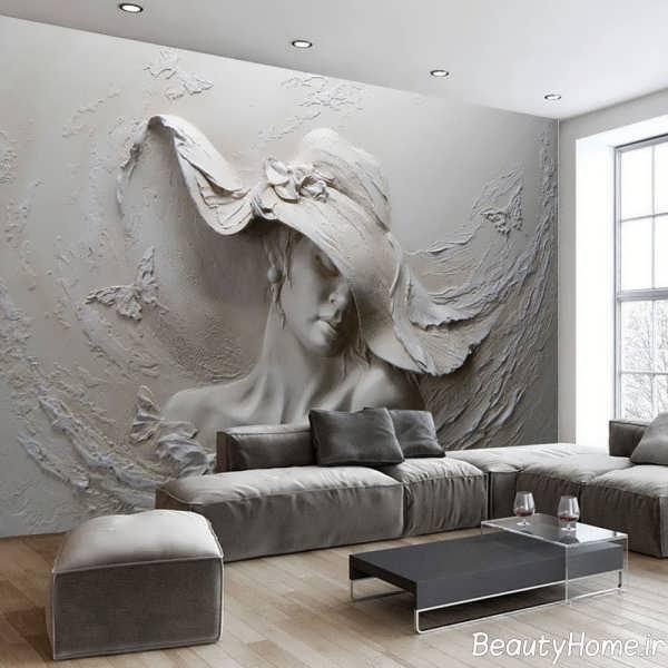 دیزاین اتاق نشیمن با تم خاکستری