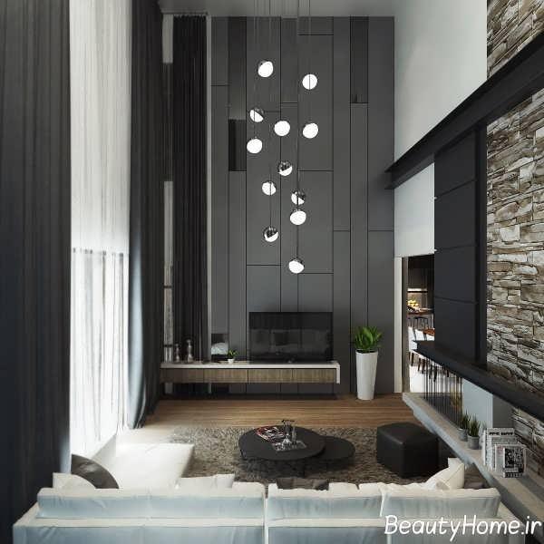 دیزاین ایده آل اتاق نشیمن با تم خاکستری