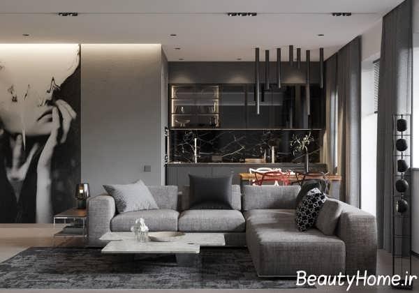 دکوراسیون متفاوت اتاق پذیرایی خاکستری