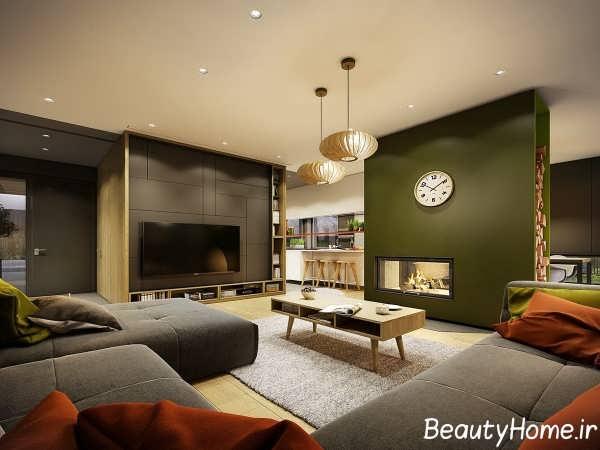 طراحی شیک اتاق پذیرایی با تم خاکستری
