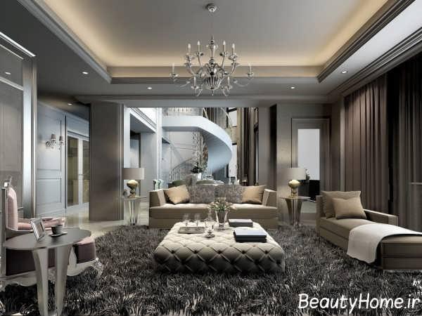 طراحی جالب اتاق نشیمن با تم خاکستری