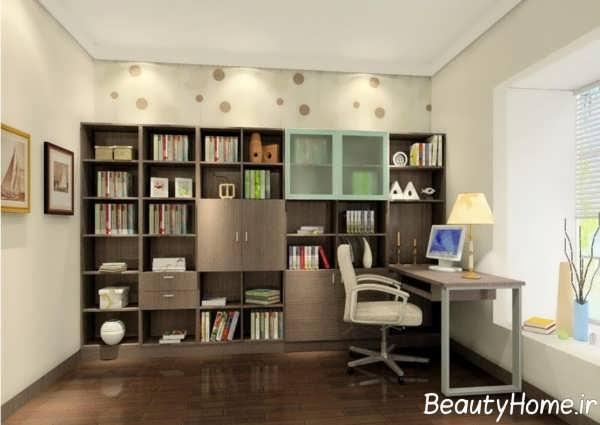طراحی داخلی اتاق مطالعه با قفسه کتاب سفارشی