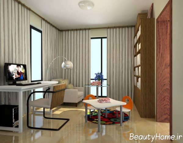 طراحی مینیمالی اتاق مطالعه