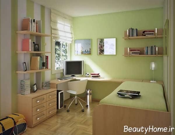 طراحی اتاق مطالعه با تم سبز
