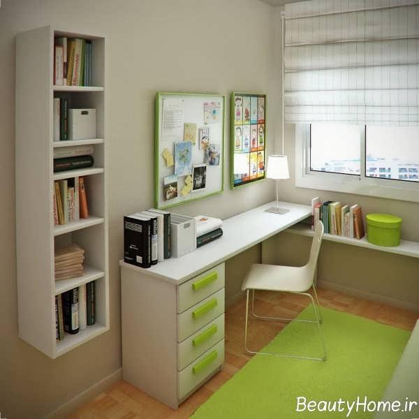 چیدمان اتاق مطالعه با تم سبز