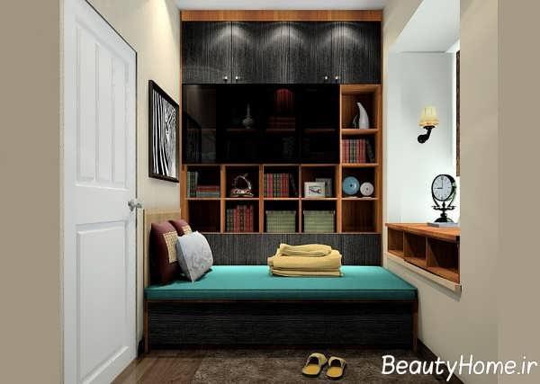طراحی اتاق مطالعه با فضای استراحت